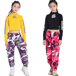 Hip Hop Bambino Costume bambini hiphop Street Dance Abbigliamento manica lunga Camouflage Pantaloni Jazz Dance Costumes for Girls