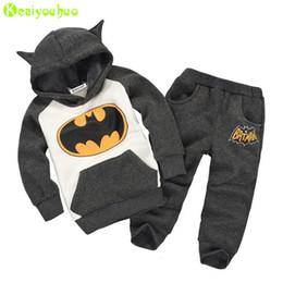 Boys Batman Pants Australia - Children Boys Clothes Winter Girls Clothes Batman Costume Hoodie+Pants 2pcs Outfits Kids Sport Suit For Girls Clothing Sets
