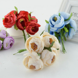 Flowers For Wedding Car Decoration Australia - 6pcs tea bud artificial flowers for wedding car decoration handicraft DIY bride bouquet Decorative wreath stamens silk Flower