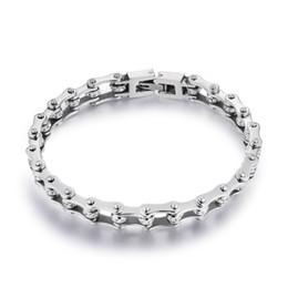 toggle chain bracelet NZ - Pure Neutral Classic 316l Stainless Steel Bracelets Crystal Motorcycle Chain Silver Bracelets 10mm Wide 17cm~22cm Length Ym001 J190721