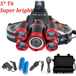 Wholesale 15000 Lumens 5 LED Headlamp T6 Headlight 4 modes Zoomable LED Headlamp Rechargeable Head Lamp Flashlight+2*18650 Battery+AC DC Charger+BOX