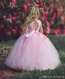 $enCountryForm.capitalKeyWord Australia - Ball Gown Flower Girl Dresses with Ribbon Sash Floor Length Puffy Pink Little Kids Prom Dresses Birthday Formal Gowns