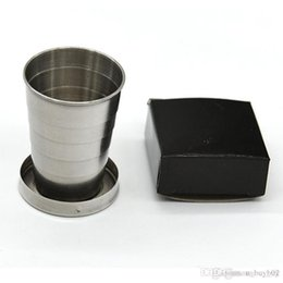 $enCountryForm.capitalKeyWord NZ - 400 pcs Stainless Steel Portable Outdoor Travel Camping Folding Foldable Collapsible Cup 75ml with Key Ring