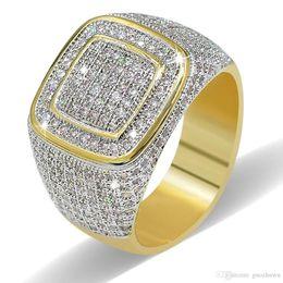 $enCountryForm.capitalKeyWord Australia - Personalized 18K Gold Plated White CZ Zirconia Rectangle Rings Diamond Hip Hop Punk Jewelry Gifts for Men & Women 10mm Size 7-11 Wholesale
