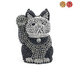 Lucky goLd cat online shopping - Luxury women evening party diamonds beautiful crystal purses elegant clutches bridal wedding party lucky cat crystal purses