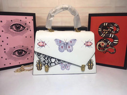 $enCountryForm.capitalKeyWord Australia - Best Quality Famous Women Handbags Genuine Leather Shoulder Bags Metal Butterfly insect print Buckle solid white textured women bags