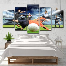 Painting Rooms House Australia - Football Match Picture 5 Panel No Frame Canvas Painting Modern House Living Room Wall Art Picture Home Decor Art Poster Gift