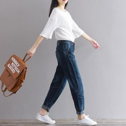 Wholesale loose harem pants women jeans resale online - Boyfriend Jeans Harem Pants Women Trousers Casual Plus Size Loose Fit Vintage Denim Pants High Waist Jeans Women Vaqueros