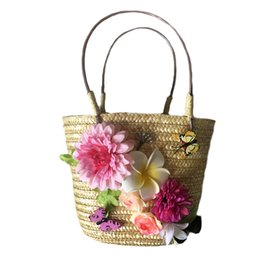China Summer beach straw bag for kid Bohemia fake flowers tote bags for lady casual handbag basket storage box suppliers