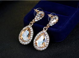 Gold earrinGs hiGh jewelry online shopping - High Quailty Women Rhinestone Drop Earrings Crystals Bridal Wedding Earrings Fashion Jewelry Europe Style For Party Prom Evening