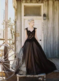 $enCountryForm.capitalKeyWord Australia - 2020 Gothic Black Wedding Dresses New Design Custom Beads Applique Backless Cap Sleeve A-Line Tulle Lace Bridal Gowns Vestido De Novia W173