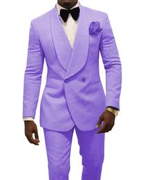 Lavender Men Wedding Tuxedos Embossing Groom Tuxedos Excellent Men Blazer 2 Piece Suit Prom Dinner Jacket Custom Made(Jacket+Pants+Tie) 1625