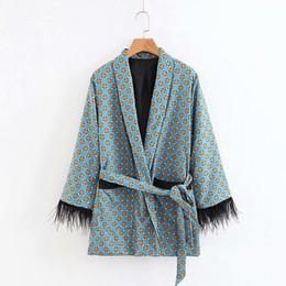 $enCountryForm.capitalKeyWord Australia - New European Elegant Women Kimono Jacket Long Sleeve V Neck With Sashes Dot Print Female Outwear Coat A120
