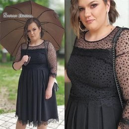 Knee high dress tulle online shopping - 2019 Plus Size Jewel Aline Black Homecoming Dress With Half Sleeves High end Customed Made Vestidos De Novia Party Gown