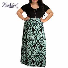 8af1b41bae7 Nemidor 2019 Women O-neck Short Sleeve Patchwork Casual Dress Plus Size 7xl  8xl 9xl Vintage Chevron Print Loose Long Maxi Dress Y19012201
