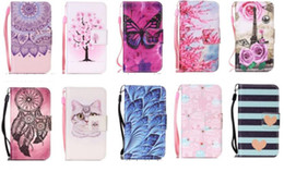 $enCountryForm.capitalKeyWord NZ - Flower Strap Wallet Leather Case For Samsung Galaxy S10 PLUS S10E Huawei P30 LITE PRO Stand Card Cartoon Eiffel Tower Cat Skin Cover 50pcs