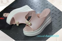 pink color women shoes wedges Australia - Summer Women Sandals A Solid Color Fish Mouth Wedge Shoes Sandals and slippers fashion comfortable women's shoes white blue pink Colo l22