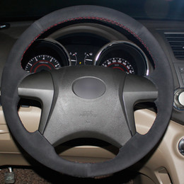 ToyoTa camry sTeering wheel online shopping - Black Suede DIY Car Steering Wheel Cover for Toyota Highlander Toyota Camry