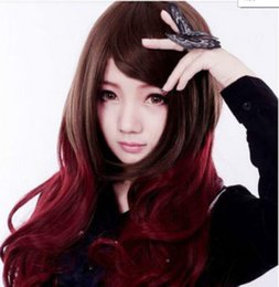 Mix Red Hair Australia - WIG FREE SHIPPING Hot heat resistant Party hair>>>>New Wig Cosplay Lolita Harajuku Wine Red  Brown Mixed Long Curly Wig