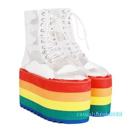 woman pvc socks Australia - Runway Shoes Rainbow Candy Color Socks Boots High Platform Wedges Transparent Ankle Boots Clear PVC Lace Up Increasing Shoes c19