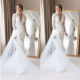 MerMaid white gown lace winter online shopping - 2020 White Boho Romantic Country Mermaid Long Sleeves Wedding Dresses Lace Bridal Party Gowns Plus Size Sheer Neck