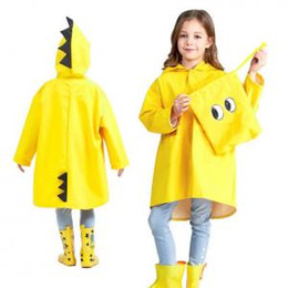 Girl poncho kids online shopping - Kids Dinosaur Hooded Raincoat Baby Cute Boys Girls Windproof Poncho Raincoat Children Rainwear Rain Coat OOA6167