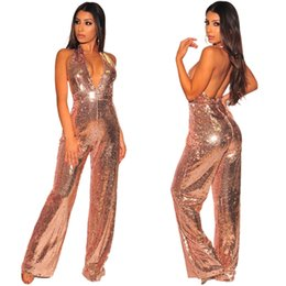 Sequin jumpSuitS for women online shopping - Glitter Sequin Jumpsuits For  Women Apricot Halter Backless Wide 1e94db5fe187