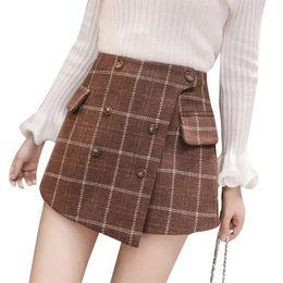8515ad755b Vintage England Style Winter Shorts Women 2018 Autumn Thicken Woolen Plaid  Shorts Skirts Buttons Pockets Irregular Booty Shorts J190507