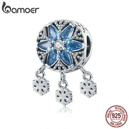 Make Icing Flowers Australia - Pandora Style Authentic 925 Sterling Silver Snowflakes Ice Flower Light CZ Charms Beads fit Bracelets & Necklace Jewelry Making C1100