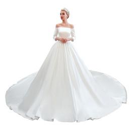 Robe Model UK - Elegant Off the Shoulder Satin Full Sleeves Wedding Dress Mariage Robe mariage Plus size wedding dress Wedding gown 39353