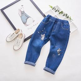 Plaid Kids Jeans Australia - 2019 New Autumn Item Girl Cute Embroidery Cat Design Pant kids ripped boys girls boy leggins shorts years overalls cartoon Jean Jeans pants