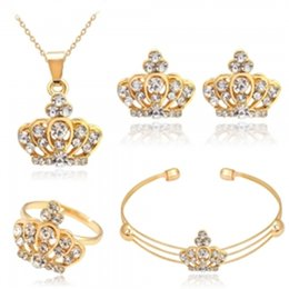 Discount beautiful rings new style - 2019 NEW Luxury crystal crown necklace ring earring bangle jewelry set women style beautiful four-piece accessory bracel