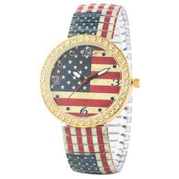 Unique Watches For Men Australia - Classic Diamonds Encrusted Expansion Band Wristwatch Casual Quartz Analog Watch for Men Unique American Flag Pattern Dial Watches for Women