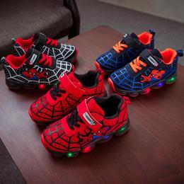 $enCountryForm.capitalKeyWord Australia - Cartoon Fashion Spider man Kids Shoes with Light Air Mesh Children Luminous Sneakers Boy Girl Led Light Sport Shoes Size 21-30