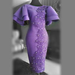 Dubai tea Dresses online shopping - Tea Length Mermaid Evening Dresses Jewel Neck Short Sleeves Cheap Prom Dresses With Lace Appliques Beads Dubai Formal Gowns robe de soiree