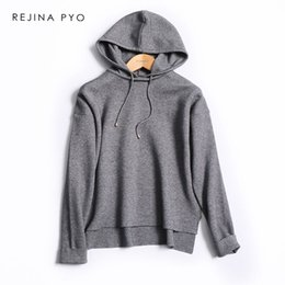 Grey woman s hoodie online shopping - REJINAPYO Women Grey Casual Knitted Sweatshirt  Female All match dec894d7b