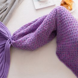 Handmade Crochet Baby Blankets Australia - Mermaid Tail Blanket Handmade Knitted Sleeping Wrap TV Sofa Mermaid Blanket Kids Adult Baby crocheted bag Bedding Throws bag