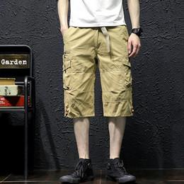 a111c0c694 Summer Men's Baggy Multi Pocket Military Zipper Cargo Short Hot Breeches  Male Long Army Green Khaki Men Tactical Short Plus Size