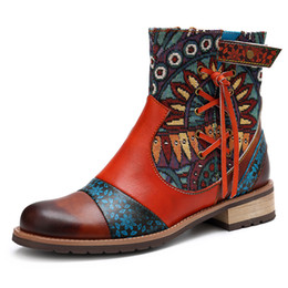 Favorite Boots Australia - European and American favorite colorful new style leather fine printing Ladies Leather jacquard boots and cowboy boots