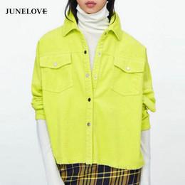 street wear jackets 2019 - JuneLove Autumn Women Bright Green Color Corduroy Jacket Loose Single Breasted Coat Fashion Button Jacket Street Wear Ou