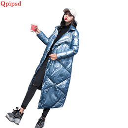 Womens Down Parka NZ - 2018 Winter long bright face down jackets womens temperament slim down coats female warm white parkas coat ladies overcoat