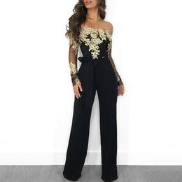 $enCountryForm.capitalKeyWord UK - 2019 Spring Women Fashion Elegant Black Casual Cocktail Romper Belted Ladies Flower Embroidery Off Shoulder Wide Leg Jumpsuit