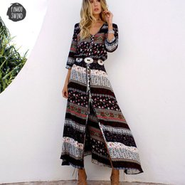long sleeve maxi dresses Australia - Long Dress Ankle Length New Bohemian Printing 2019 Women Maxi Long Dress Floral Print Hippie Chic Brand Clothing Boho Dress