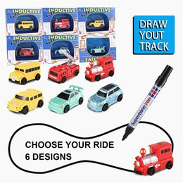 cars draw NZ - Enlighten Magic Pen Draw toy railroad Inductive Trains Children's RC Train Tank Toy Car Draw Lines Induction Rail Track Car Kids