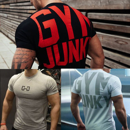 $enCountryForm.capitalKeyWord Australia - Men's Fashion T Shirt Men Crossfit Tops Summer Fitness Bodybuilding Clothes Muscle Male Shirts Cotton Slim Fit Tees