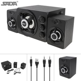 SADA D-208 2.1 Mini Black 3W Wooden 3D Surround Sound Subwoofer Music USB Computer Speaker with Luminescent Multicoloured Lamp SSB_10M on Sale