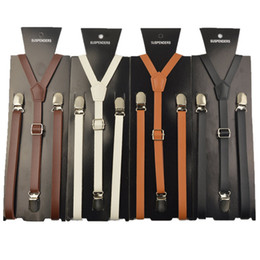 $enCountryForm.capitalKeyWord Australia - High quality Brown and black woman suspender braces 15mm width mens women pu leather suspenders for men 115cm