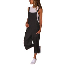 $enCountryForm.capitalKeyWord UK - Jumpsuit Overalls for Women Bodysuit Sleeveless Dungarees Loose Cotton Linen Long Playsuit Party combinaison femme