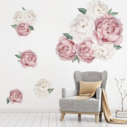 China Peony Rose Flowers Wall Sticker Art Nursery Decals Kids Room Home Decor Gift muurstickers voor kinderen kamers decals cheap peony flowers wallpaper suppliers