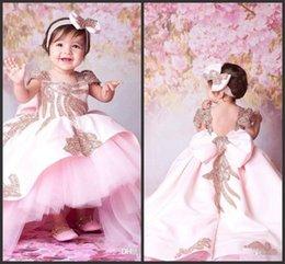 Dress For Babies First Birthday Australia - 2019 Pink Ball Gown Princess Baby Girl Flower Girls Dresses For Weddings Sweep Train Sequins Kids Formal Wear Cute First Communion Dress